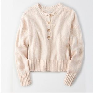 American Eagle Outfitters Pink Henley Sweater